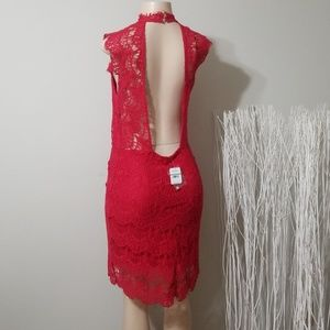 NEW! NWT! FREE PEOPLE RED LACE DESIGN DRESS!